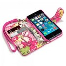 Apple iPhone 5/5s - Rosa Etui med Floral Tekstil Interiør -Pink Lilly- FRI FRAKT thumbnail