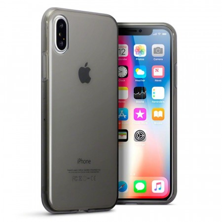 Apple iPhone X- Fleksibelt TPU Silikon Deksel - Smoke Black
