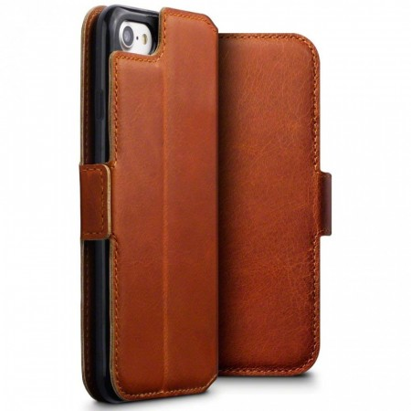 Apple iPhone 7- Slank Design Ekte Skinn Lommebok Etui- Cognac