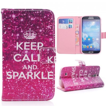 Samsung Galaxy S4  Lommebok Etui - Keep Calm and Sparkle - Rosa