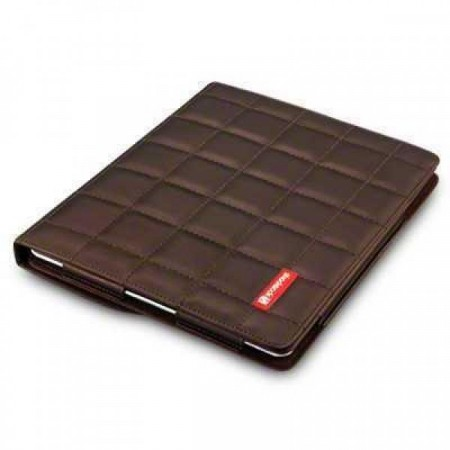 Crossstich Folio Case for iPad 3 / 4 - Chocolate