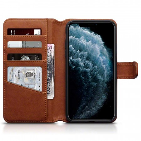 Apple iPhone 11 PRO  MAX - Ekte Skinn Lommebok Cover- Cognac - Fri Frakt