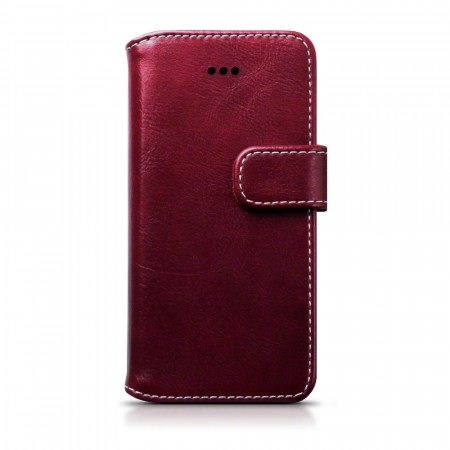 Apple iPhone SE/5/5s- Premium PU Lær Lommebok Etui - Burgundy
