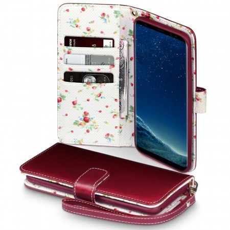 Samsung Galaxy S8 PLUS Wild Berries Lommebok Etui - Burgundy