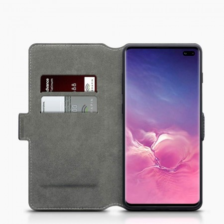 Samsung Galaxy S10 PLUS- Super Slank Folio Design Lommebok - Svart