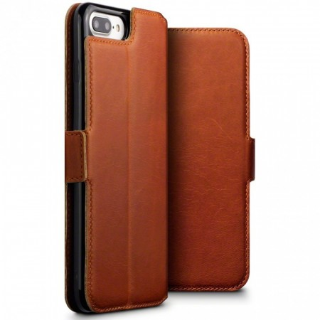 Apple iPhone 8 PLUS -Slank Ekte Skinn Lommebok Etui - Cognac