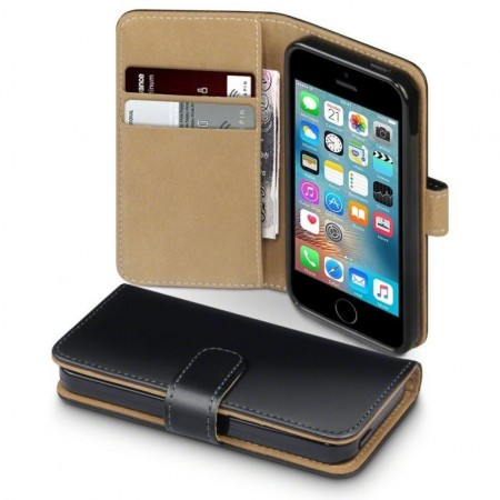 Klassisk Lommebok Cover til Apple iPhone SE/5/5s - Black/Tan